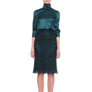 New Dolce&Gabbana Dark Green Lace skirt and top